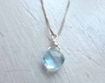 Blue Topaz Necklace, DECEMBER Birthstone, Sky Blue Topaz Necklace, Blue Topaz, REAL Topaz, BLUE Gemstone