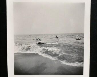 Original Vintage Photograph Riding the Waves