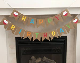 Fishing Birthday Banner, Gone Fishing, Fishing Party, Happy Birthday Banner, Burlap Birthday Banner, Bobbers, Boy Birthday Party, Photo Prop