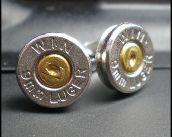 9mm Winchester Nickel Bullet Head Stud Earrings FREE SHIPPING Light and Comfortable