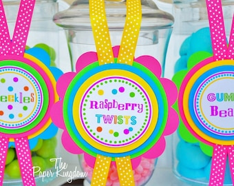Candy Buffet Labels, Deluxe Dessert Buffet Tags, Candy Jar Labels