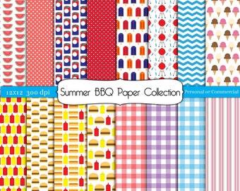 Summer BBQ Barbecue Digital Scrapbook Paper Instant Download