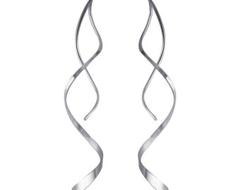 Silver Twist Earrings Spiral Earrings Corkscrew Earrings Sterling Threader Earrings Long Earrings Sterling Silver Earrings BuyAny3+1Free