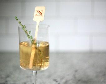 Wood Stir Sticks - Personalized drink stirs, Foil Stamped drink stirs
