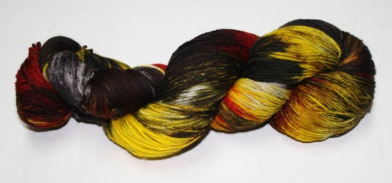 Fire at the Close Hand Dyed Sock Yarn