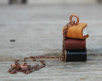 Stack Book Necklace, Leather Book Charm, Miniature Books, Statement Gift Women, Bookworm, Book lover, Quiet, Gift for Her, Mom Gift, Boho
