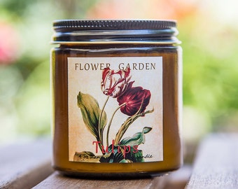 Scented candle TULIPS , natural candle, soy candles, bff gift, floral candle