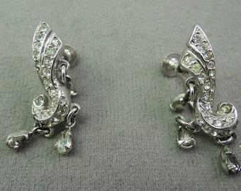 Elegant Silver Tone and Rhinestone Screwback Earrings 1950-60s
