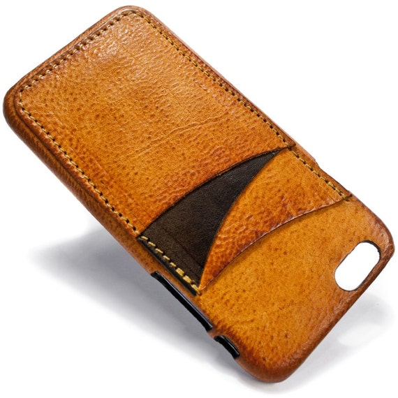 """NEW iPhone 7 display 4.7"""" Italian Leather Case with 3 credit cards holder vertical SLOTs choose the color of BODY and ACCENT"""