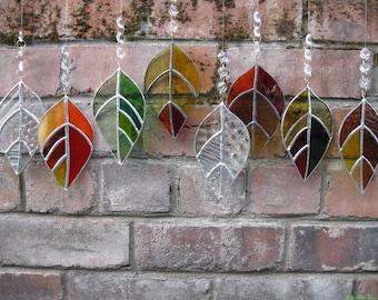 Glass Laurel Leaf Sun-catcher