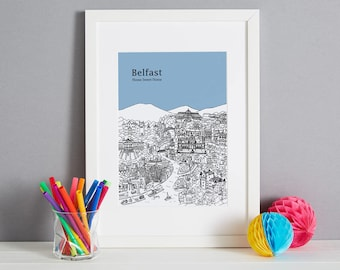 Personalised Belfast Print | Belfast Gift | First Anniversary Gift | Engagement Gift | Unique Wedding Gift | Valentines Day Gift | Belfast