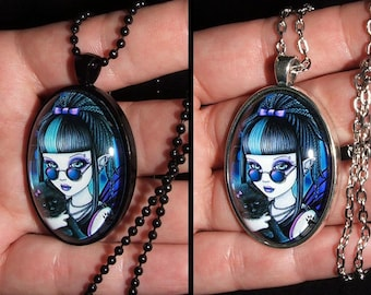 Amelia Vampire Cat Glass Cameo Necklace Purple Teal Gothic Fairy Myka Jelina Art Pendant