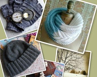 Infinity Cowl, Men's Hat, Knuckle Gloves, and Scarf eBook Knitting Patterns Instant PDF Download by designer J. L. Fleckenstein