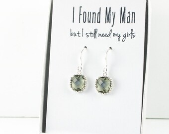 Charcoal Silver Earrings, Silver Gray Square Earrings, Charcoal Wedding Jewelry, Bridesmaid Earrings, Charcoal Bridal Accessories