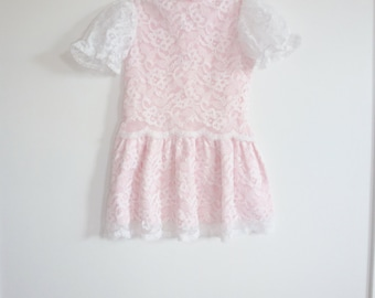 Vintage Pink and White Lace Dress