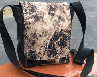 Hand Treated  Dyed Black White Canvas Day Bag, Bleach Dyed Messenger Bag, Travel Bag