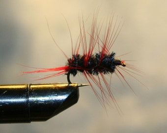 Fisherman - Fly Fishing Flies - Black and Red Trout Fly - Fly Fishing Attractor - Number 10 Hook - Made in Michigan - Trout - Fishing Lure