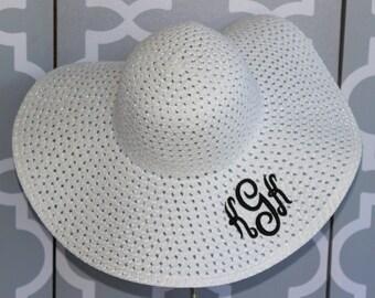 Monogrammed Floppy Straw Hat/ Beach Hat/ Sun Hat/ Bridesmaids- SALE