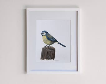Blue Tit on a Fence Post Original Framed Painting - Acrylic
