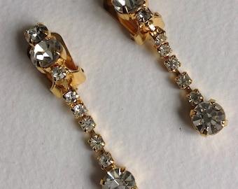 Gold Tone Dropper Earrings - Clip Fitting - UnPierced Ears- Gifts for Her