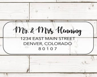 TRANSPARENT Return address label - custom- 2 5/8 x 1 inch rectangular, transparent label, sticker, wedding announcements - SET OF 30