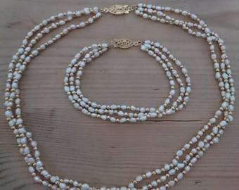Vintage rice Pearl necklace and bracelet set