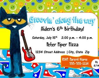 Pete the Cat Birthday Party Invitation | Digital File