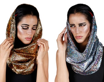 Rave Hood, Cyberpunk Scarf, Holographic, Futuristic Clothing, Festival Hoods, Hooded Scarf, Festival Clothes, Burning Man Outfit, LENA QUIST