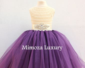 Ivory Flower girl dress, Cream Aubergine flower girl dress, eggplant ivory tulle dress, girls wedding dress, little bridesmaid dress