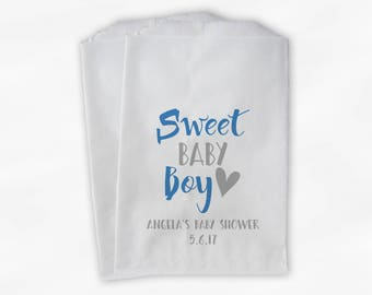Sweet Baby Boy Baby Shower Candy Buffet Treat Bags - Set of 25 Medium Blue and Gray Personalized Favor Bags (0199)