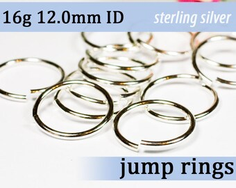 16g 12.0mm ID sterling silver jump rings --  16g12.00 jumprings 925 links