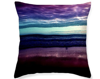 Horizon decorative pillow, purple aqua cobalt scatter cushion, pillow cover, home and dorm decor, home accents, cushion covers