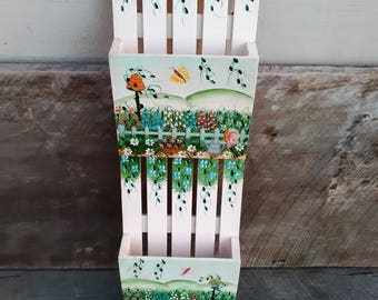 Wall Hanging Letter/Mail Organizer and Key Hanger, Hand Painted Picket Fence Garden  Design, Inv.# 665