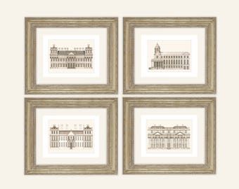 Set of 4 Architectural Prints in Sepia on Archival Watercolor Paper
