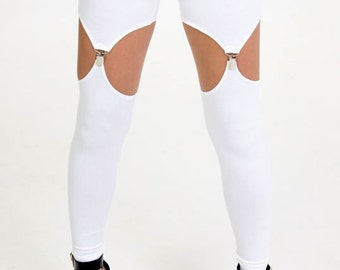 White Garter Leggings