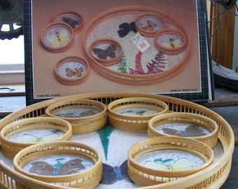 CLEARANCE SALE - New Vintage Bamboo Serving Tray & Coasters Set - Butterfly - in Original Box, Never Used, 1970's