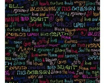 Laurel Burch Fabric Enchantment Words on Black 1 Yard Y1971-3