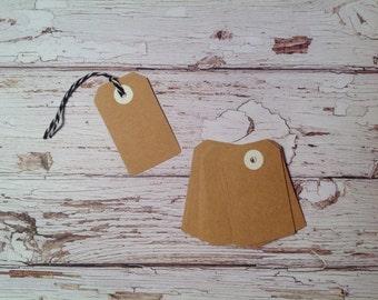 Tiny Gift tags,20 mini Kraft tags, price tags, Kraft cardstock tags, mini gift tags, tags and twine set