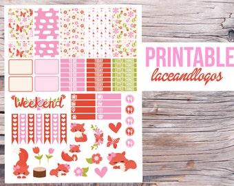 Printable Planner Stickers Fox Girls  Glam Planning  Vertical  Happy Planner Cute Weekly Set Sticker Kit  DownloadFor Erin CondrenPlanner