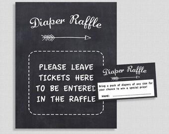 Chalkboard Diaper Raffle Tickets & Sign, Gender Neutral Baby Shower, Arrow, Blackboard, Invitation Insert, INSTANT PRINTABLE