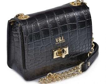 Frau Leder taschenmarke Victorio und Lucchino Ref 10322ncoco mit Kette Umhängetasche schwarz - Leder Gravur Qualität Taschen Kokosnuss