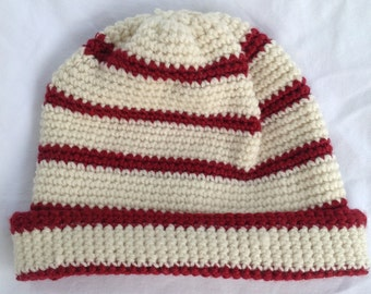 Warm Winter White and Red Striped Wool Fold-Over Crochet Hat