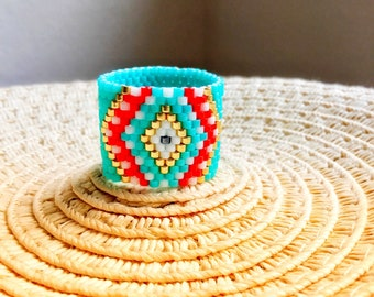 Mother's day, Gift for mom, Turquoise Evil Eye seed bead ring, Wide band beaded ring, Summer Boho ring, Gifts for her, Greek Mati ring