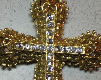 Vintage Large Rhinestone Brooch Pin Gold-plated Etruscan Style