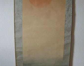 Rising Sun and Waves by Otake Chikuha. Hanging scroll.