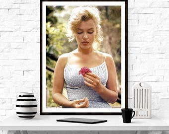 Marilyn Monroe with a Flower , Gift, Home Decor, photography, american icon, actress, Vintage poster, print,