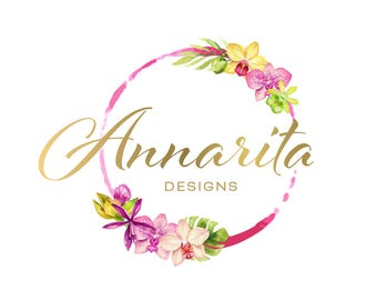 Logo Design Branding Package Premade Graphics Custom Text Zen Pink Purple Watercolor Tropical Flower Orchid Palm Leaf Pink Gold Circle