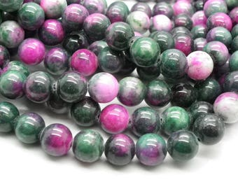 a beautiful 41 jade 10 mm Green Pink purple hue