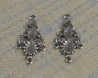 LuxeOrnaments Antique Silver Filigree  Ornate Floral Pendant (Qty 2) 34x17mm S-5904-S