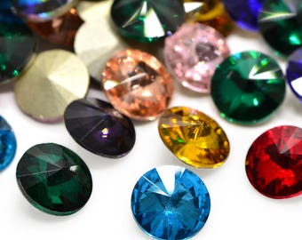 6 pcs 12 mm Rivoli Chaton Crystal Glass Fancy Stones Pointed Back MIXED COLOURS